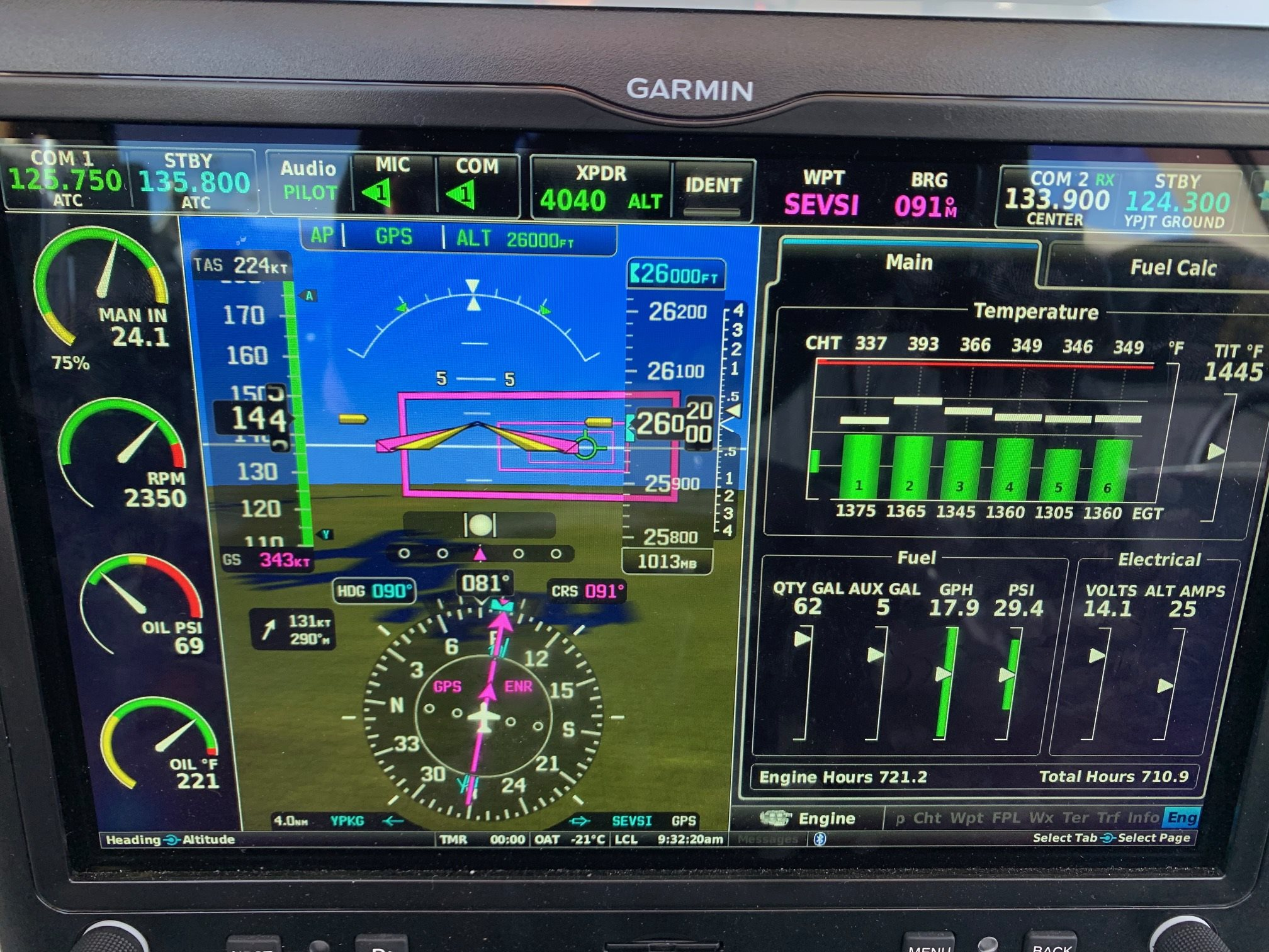 Flight Level 260 @ 343kts GS (Glasair III Super)