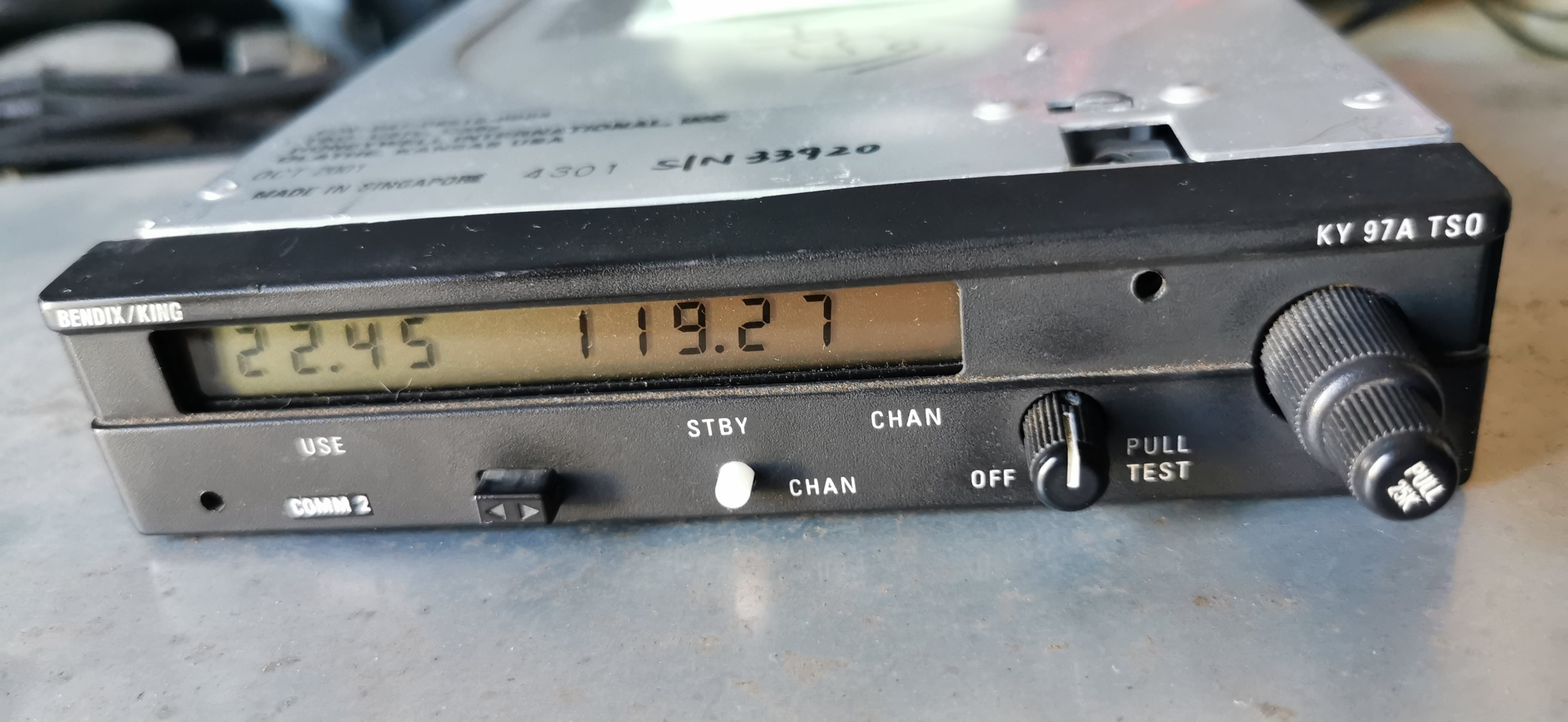 Avionics  - Bendix King KY97A radio with caddy and connector