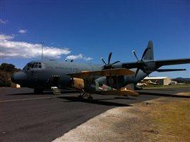 Millie at Orange in 2011 next to a visiting RAAF Hercules